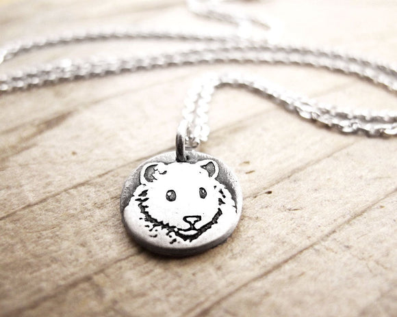 Tiny Hamster Necklace in Silver