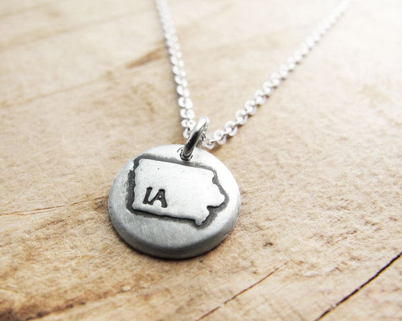 Tiny Iowa Necklace in Silver