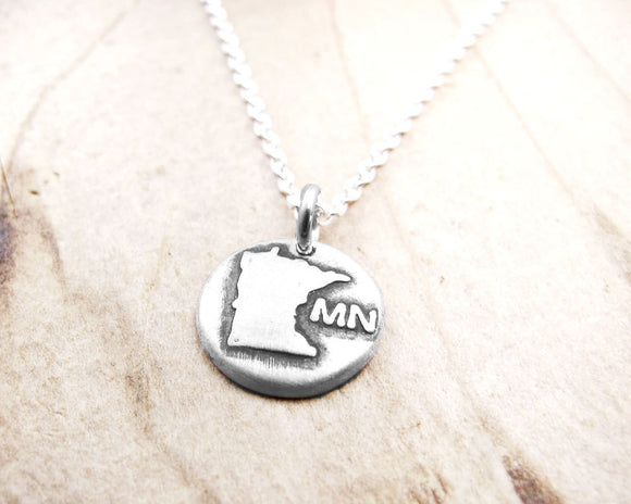 Tiny Minnesota Necklace in Silver