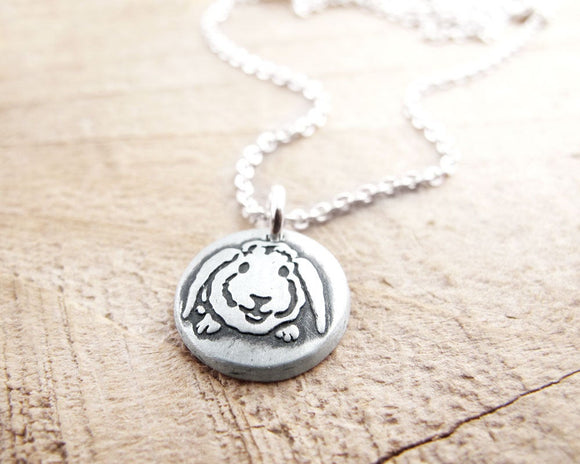 Tiny Lop Eared Rabbit Necklace in Silver