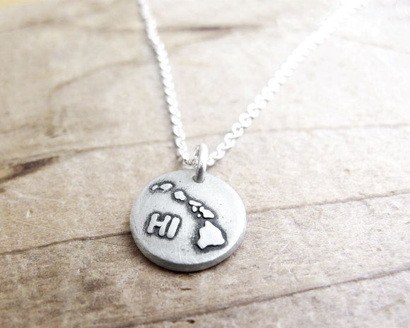 Tiny map of Hawaii Necklace in Silver