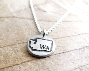 Tiny Washington state necklace in silver