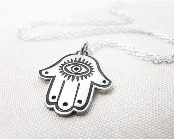 Silver Hamsa Necklace, Hand of Fatima