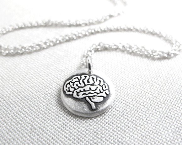 Tiny Brain Necklace in Silver