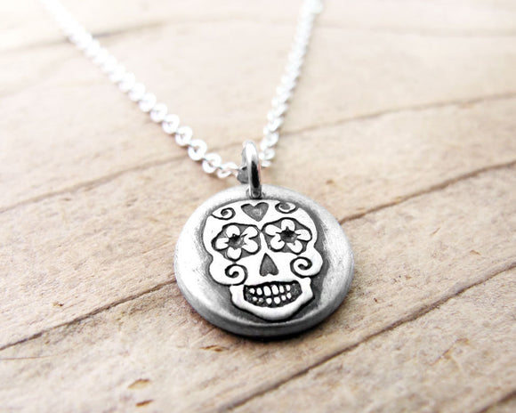 Tiny Day of the Dead Sugar Skull Necklace in Silver