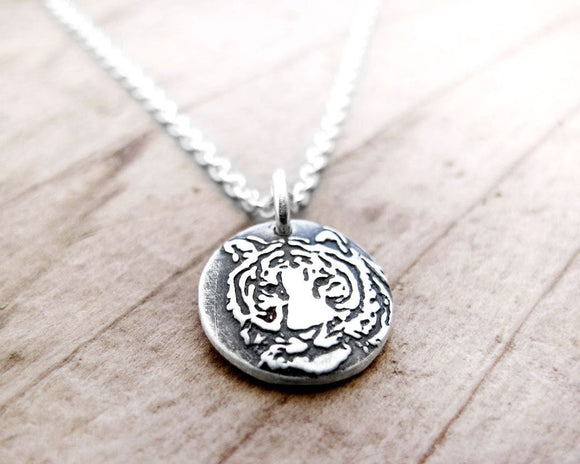 Tiny Tiger Necklace in Silver