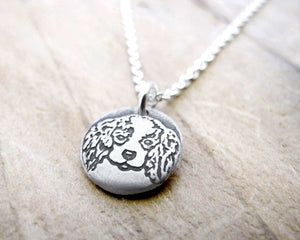Tiny Cavalier King Charles Spaniel Necklace in Silver