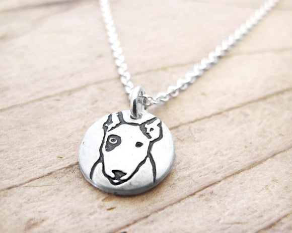 Tiny Bull Terrier Necklace in Silver