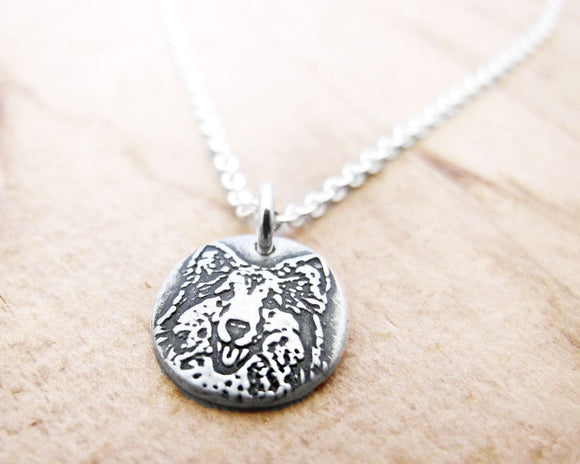 Tiny Sheltie Necklace in Silver