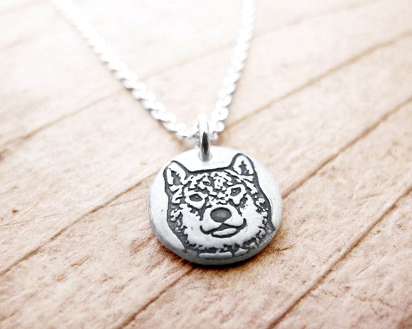 Tiny Shiba Inu Necklace in Silver
