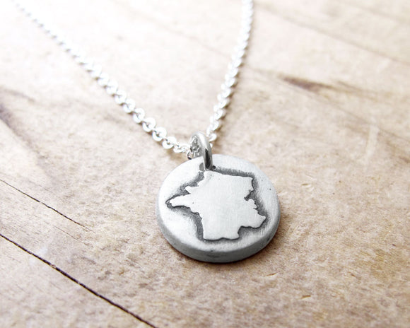 Tiny Map of France Necklace in Silver