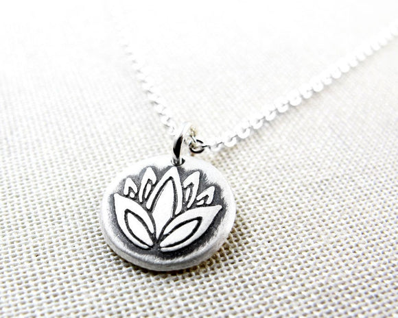 Tiny Silver Lotus Flower Necklace
