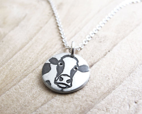 Tiny Cow Necklace in Silver, Holstein Dairy Cow