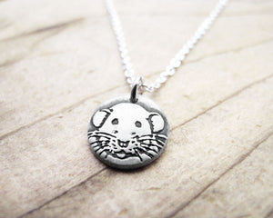 Tiny Dumbo Rat Necklace in Silver