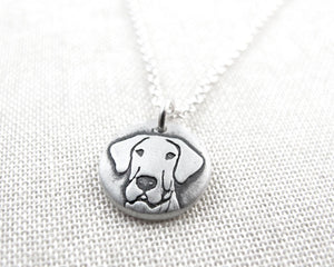 Tiny Great Dane Necklace in Silver