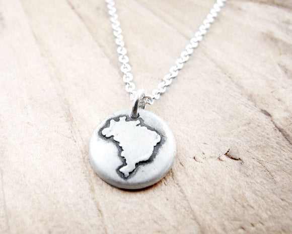 Tiny map of Brazil Necklace in Silver