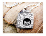 Sterling silver Owl in a Tree necklace, made to order