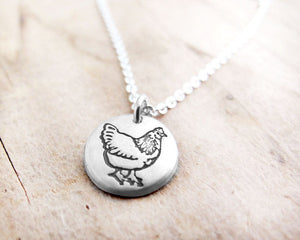 Tiny Silver Chicken Necklace