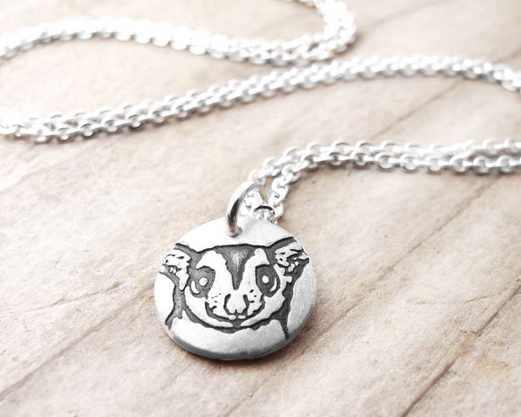 Tiny Sugar Glider Necklace in Silver