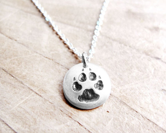 Tiny Dog Paw Print Necklace in Silver