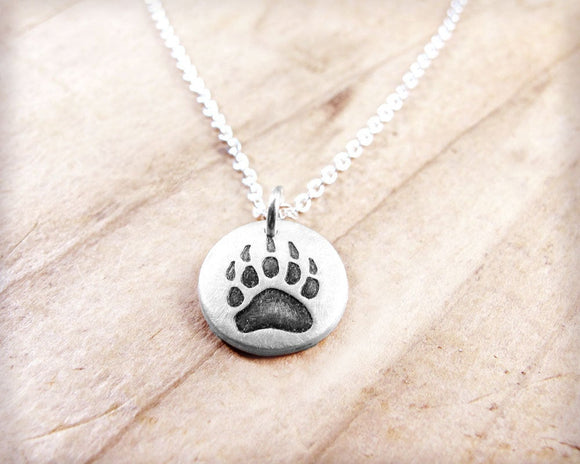 Tiny Bear Paw Necklace in Silver