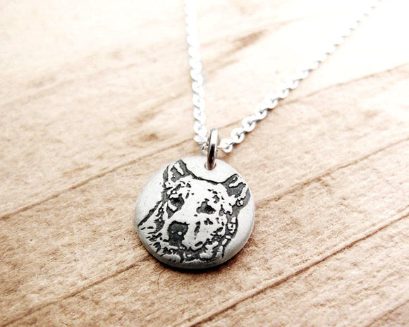 Tiny Heeler Necklace or Australian Cattle Dog in Silver