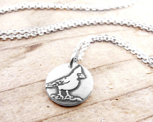 Tiny Cardinal Necklace in Silver