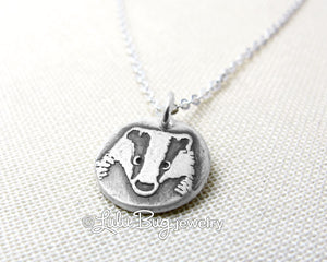Tiny Badger Necklace in Silver