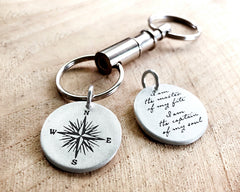Invictus Quote with Compass Key Chain