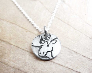 Tiny Moose Necklace in Silver