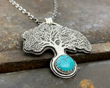 Sterling Silver Oak Tree with Turquoise Necklace