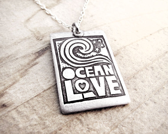 Silver Quote Necklace Ocean Love