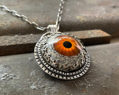 Orange Glass Eye Necklace