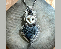 Barn Owl with Picasso Marble Heart, Cast Succulent Flowers and Black Star Diopside