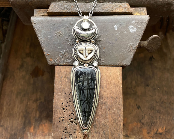 Barn Owl with Picasso Marble, Native Silver, Moonstone and 14K Dots