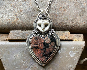 Barn Owl with Fireworks Obsidian Heart, Cast Succulent Flowers and 14K Dots