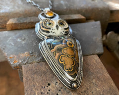 Porcelain Barn Owl with Flowering Tube Onyx, Citrine and 14k Dots