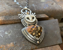 Porcelain Barn Owl with River Jasper, Citrine and 14k Dots