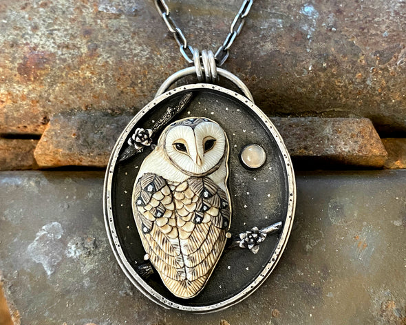 Porcelain Barn Owl with Moonstone