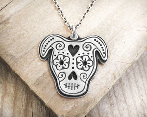 Pit Bull Sugar Skull Necklace in Silver