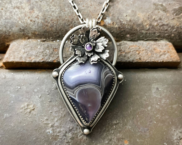 Purple Passion Agate with Flower and Amethyst Necklace