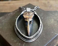 Raven Skull Shadow Box Necklace