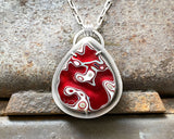 Candy Apple Red Fordite Necklace, Set in Sterling Silver