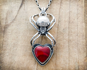 Sterling Silver Spider Necklace with Red Rosarita Heart