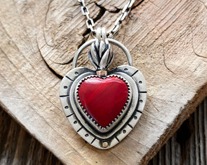 Sacred Heart Necklace with Red Rosarita Heart