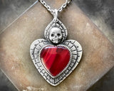 Rosarita Sacred Heart with Skull Necklace in Sterling Silver