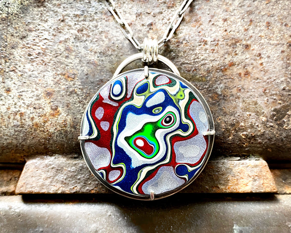Round Fordite Necklace in Sterling Silver, Blue, Green and Red