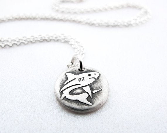 Tiny Silver Shark Charm Necklace