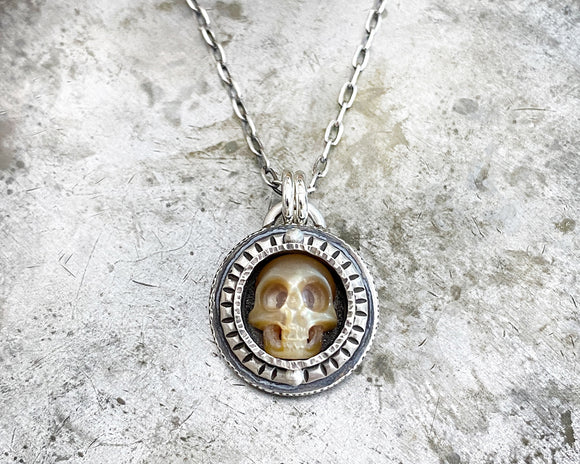 Carved Pearl Skull Necklace #11