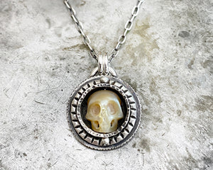 Carved Pearl Skull Necklace #12